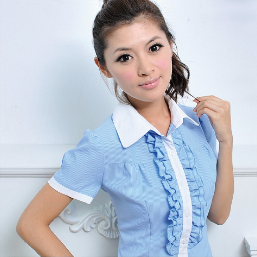 SN-44EA-3 藍色條紋短袖女襯衫(荷葉邊)