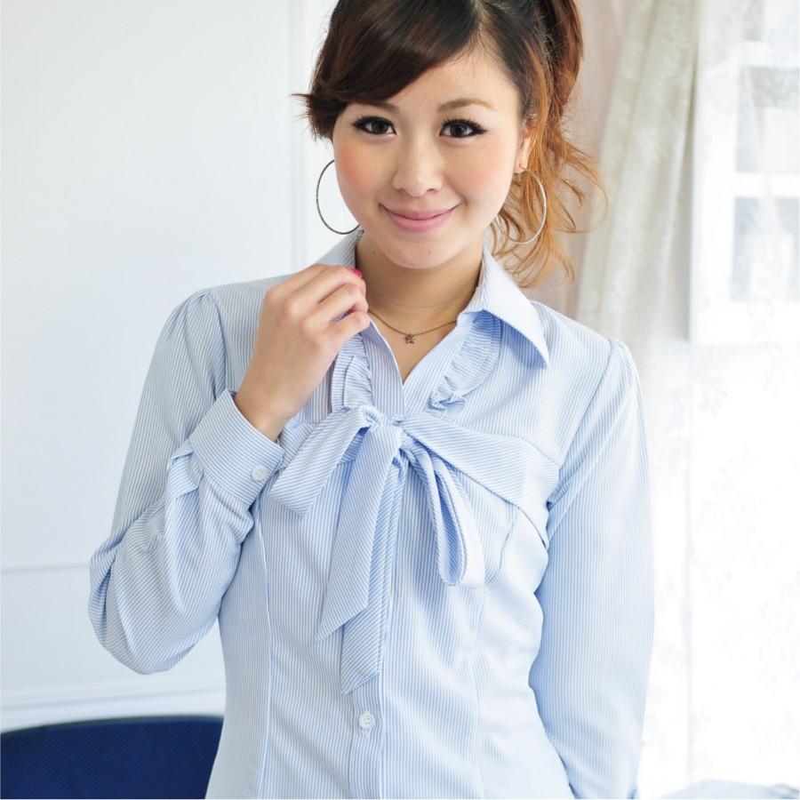 SN-45EB-3 淺水藍條紋長袖女襯衫(綁帶)2