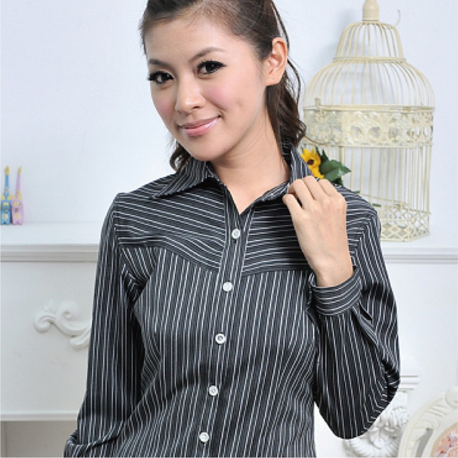HY-431Z-3 黑色條紋長袖女襯衫