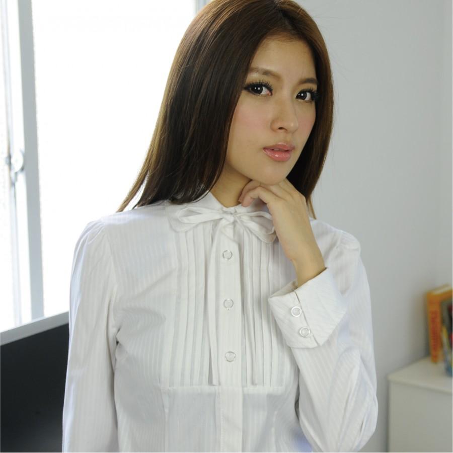 HY-993AB-3 白色亮光紗長袖女襯衫(綁帶)