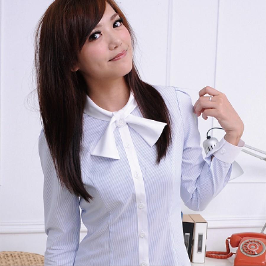 S-45ED-3 淺水藍條紋長袖女襯衫(短領巾)